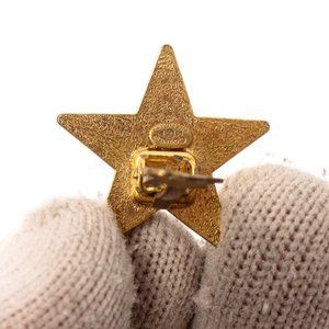 CHANEL Jewelry - Chanel Black Enamel Gold Tone Star Clip Earrings